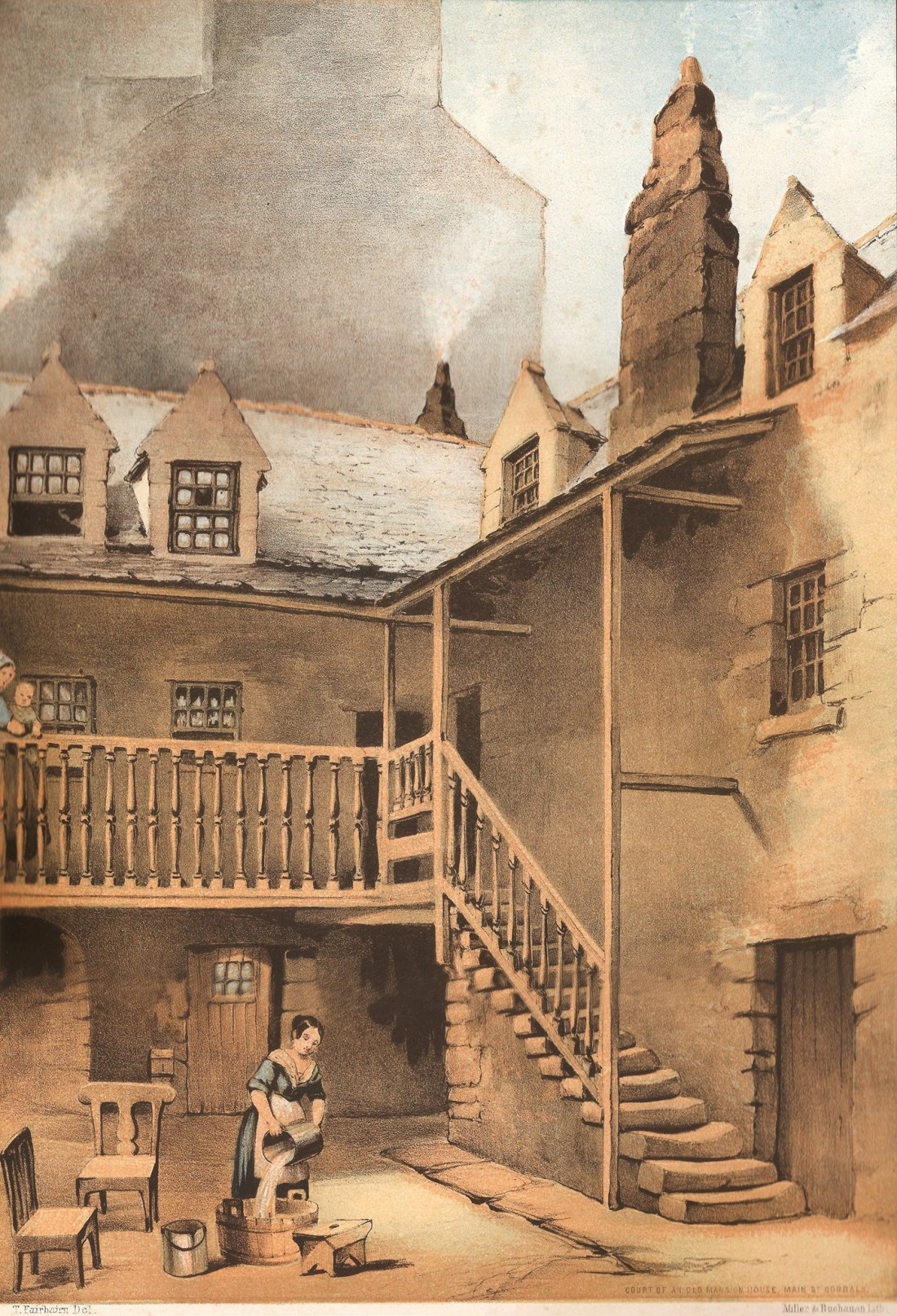 Lithograph 5 - Mansion house, Main St. Gorbals