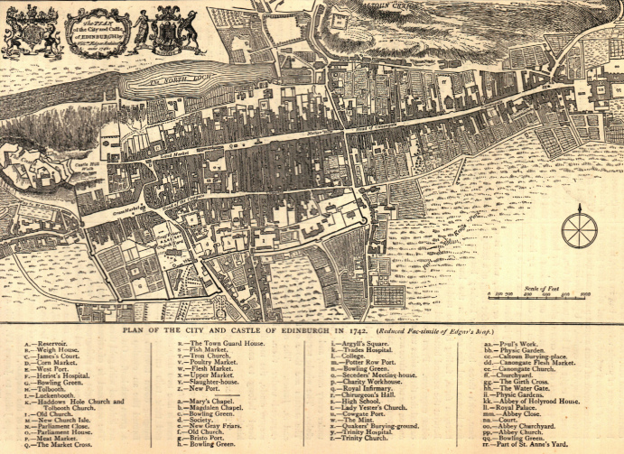 Map of Edinburgh and Castle 1742